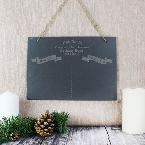 Personalised Naughty & Nice Hanging Slate Sign